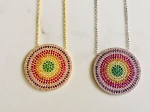 18K-Gold-925-Sterling-Silver-Evil-Eye-Necklace-Mati-Nazar-Cubic-Zirconia-CZ-Pink