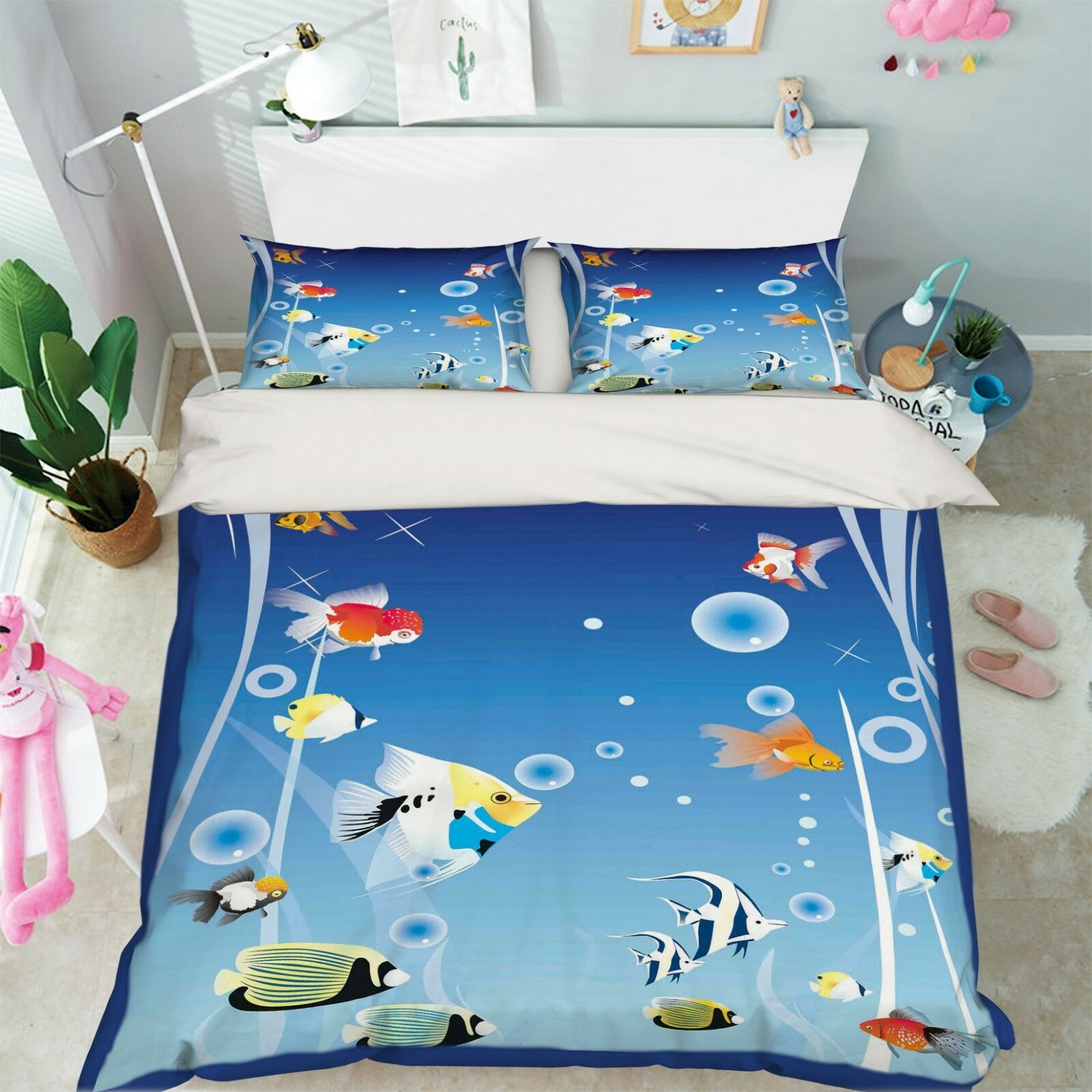 3D Marine Fish 575 Bed Pillowcases Quilt Duvet Cover Set Single Queen AU Carly