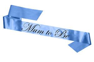 Bébé Bleu Mum To Be écharpe Baby Shower 180 Cm Cadeau Sashes Maman à être-afficher Le Titre D'origine