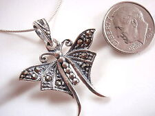 Marcasite Butterfly Necklace 925 Sterling Silver Corona Sun Jewelry New