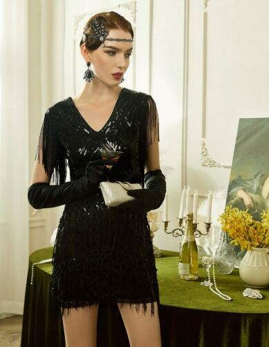 Details about  /BABEYOND 1920s Flapper Dress Long Fringed Gatsby Dress 20s Sequins Beaded Dress