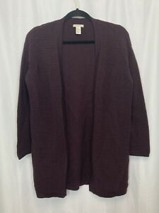 H-amp-M-Cardigan-Sweater-Women-039-s-Size-XS-Open-Front-Dark-Purple-Thick-Knit-Top