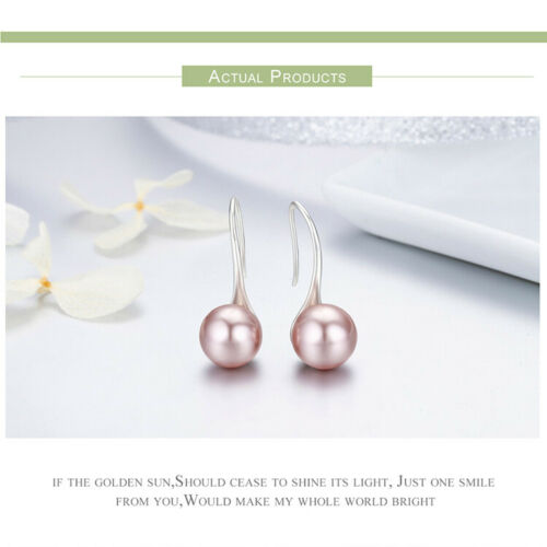 BAMOER S925 Sterling silver Stud Earrings Pink charm /& Pearl For Women Jewelry