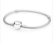 Love Heart Buckle Silver Snake Chain Bracelet Fit European Beads With Logo 18cm