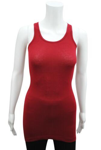 Débardeur Femme Tank Top Coton Doux lycra côtelé taille L 12 Vin Rouge