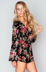 e9da87777ea9 Details about NWT Show Me Your Mumu XS Kelsey Romper Bohemian Bouquet  Flower Black Velvet