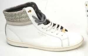 b6ea887b2  180 Ted Baker London Men s High Top White Leather Sneakers US Size ...
