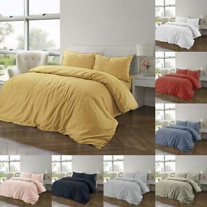 100-Cotton-Linen-Pure-Natural-Duvet-Cover-Bedding-Set-Double-King-Single