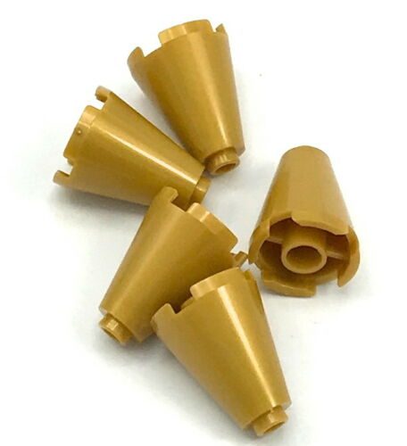 Lego 5 New Pearl Gold Cones 2 x 2 x 2 Completely Open Stud Pieces