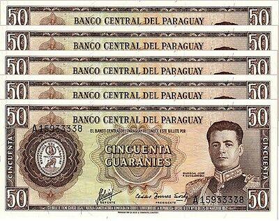 UNC Paraguay Pick 197b A-Prefix 1952 50 Guaranies L