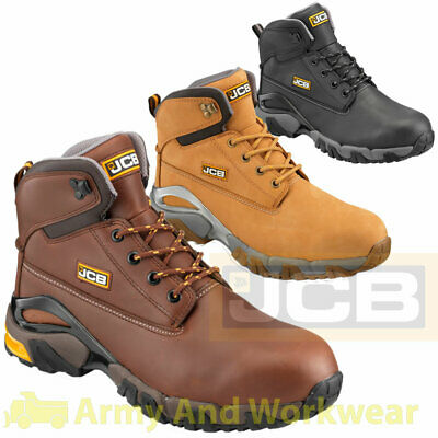 JCB 4x4 Mens Work Safety Waterproof Leather Boots Shoes Steel Toe Cap Mid Sole