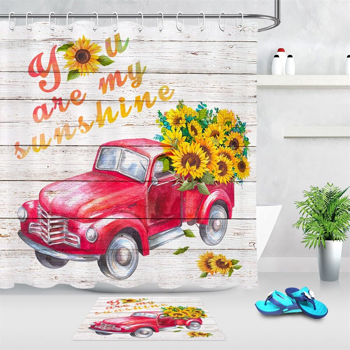 Vintage Farm Truck Sunflowers Shower Curtain Farmhouse Red Truck Polyester 12PCS