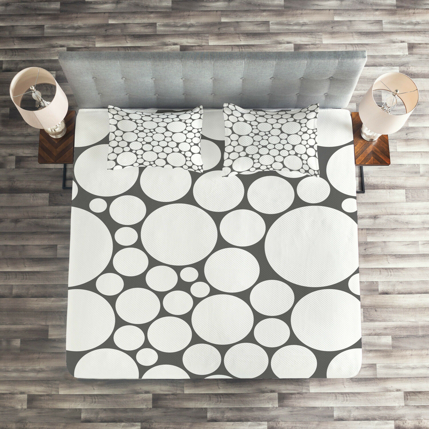 Geometric Quilted Coverlet & Pillow Shams Set, Grey White Circle Print