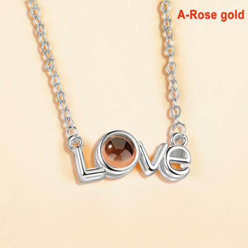 I LOVE YOU in 100 languages Projection Pendant Necklace For Memory of LOVE G FJ