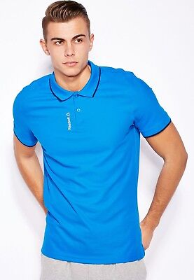 Reebok Mens El Tipped Pique Collared Polo Shirt Aj3079/80 Navy Blue & Blue Comfortable And Easy To Wear Men's Clothing
