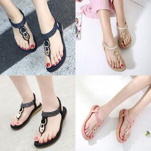 175df54b9 Women Low Flat Heel Flip Flop Sandals Clip on Post Thong Boho ...