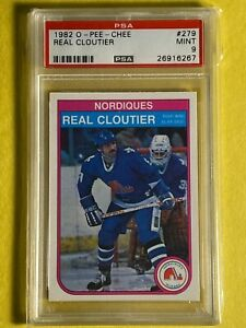 1982 O-Pee-Chee OPC REAL CLOUTIER #279 Quebec Nordiques NHL Card PSA 9 Mint