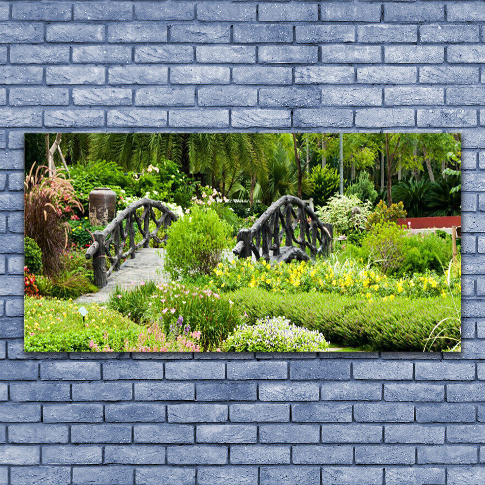 Print on Glass Wall art 140x70 Picture Image Botanical Garden Bridge Nature