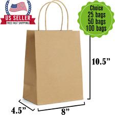 8x45x105brown Kraft Bag Bulk With Handleideal For Retail Merchandise Shopping