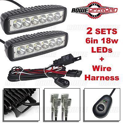 2pcs 6in 18W LED Work Light Bar Fog Offroad + Wire Harness Kit ATV SUV (FLOOD)
