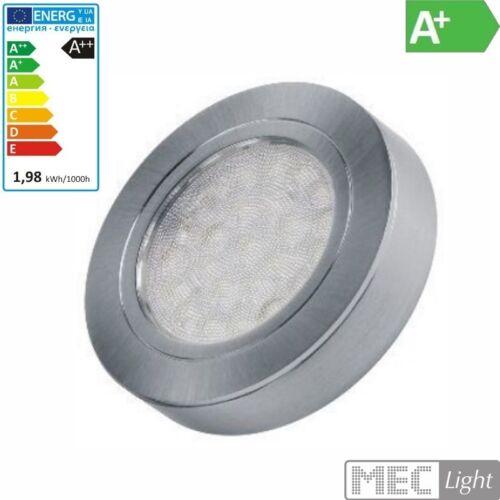 LED AUFBAU Möbel-/Unterbauleuchte OVAL -silber- warm-weiß (3000k) 12V/2W