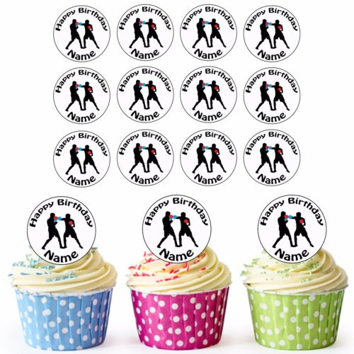 Boxing Silhouettes 24 Personalised Pre-Cut Edible Birthday Cupcake Toppers