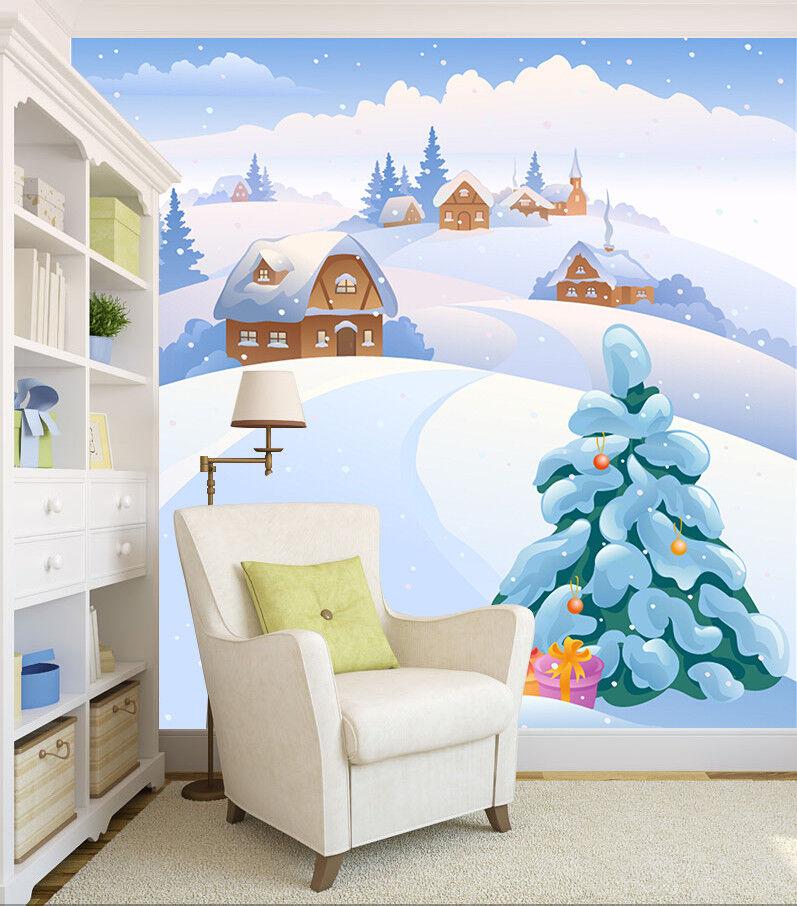 3D Cartoon Snow Trees 64 Wallpaper Murals Wall Print Wallpaper Mural AJ WALL US
