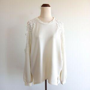 Asilio-Size-6-Oversized-Cream-Crochet-Cold-Shoulder-3-4-Sleeve-Top-Women-039-s
