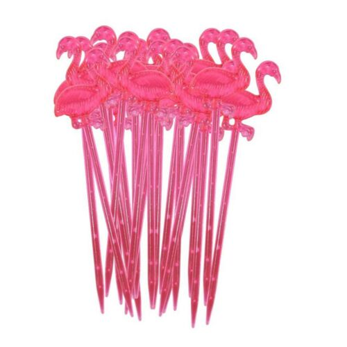48 Flamingo Cocktail Sticks Hawaiian Summer Party Pick Food Table Decorations