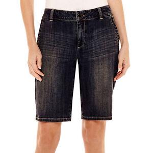 Liz Claiborne Bermudashorts Size 4 Medium Indigo Wash Neu Kleidung & Accessoires