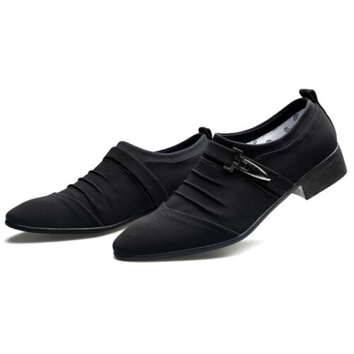 Mens Formal Canvas Casual Pointed Toe Slip On Dress Shoes Buckle Oxfords Loafers