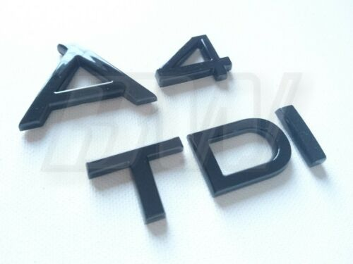 CUSTOM GLOSS BLACK A4 TDI BADGE SET LETTERING AUDI S LINE BLACK EDITION