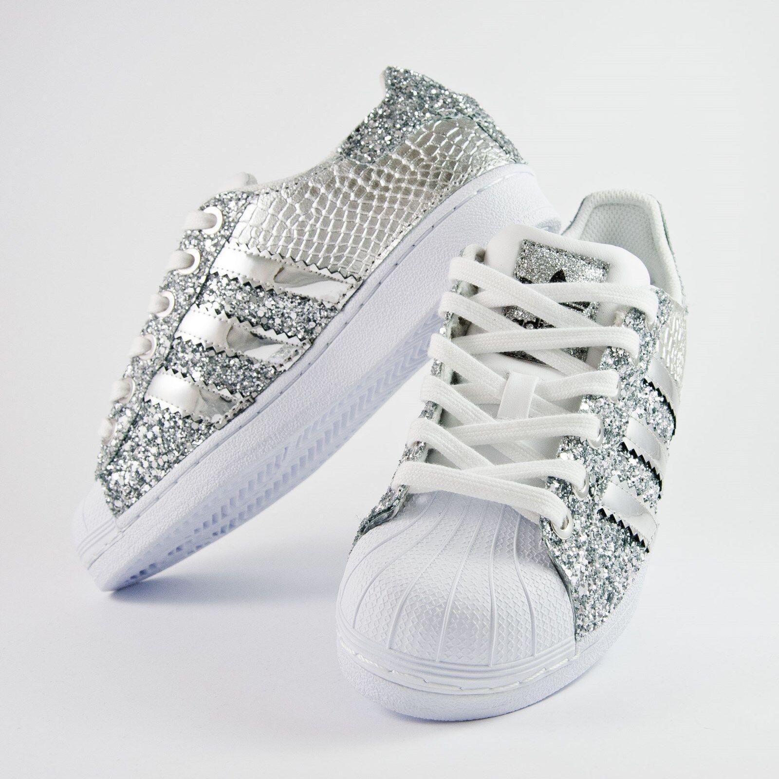 Scarpe adidas pitonato superstar con glitter argento piu 'specchiato argento pitonato adidas