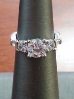 VINTAGE STYLE STERLING SILVER .925 CUBIC ZIRCONIA RING SIZE 4.75