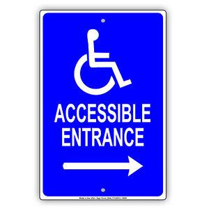 handicap accessible entrance right arrow aluminum metal sign ebay