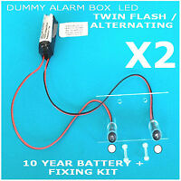 Twin Flash/alternating White Led Dummy Alarm Box Kit 10 Yr Batt (twin Pack)