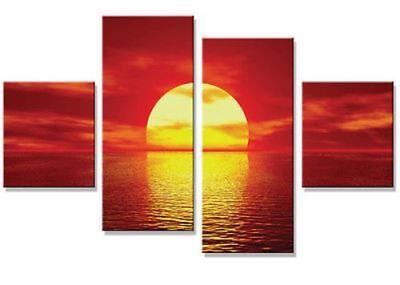 "RED SEA SEASCAPE SUNSET CANVAS WALL ART PRINT SPLIT MULTI 4 PANEL 43/"" X 28/"""