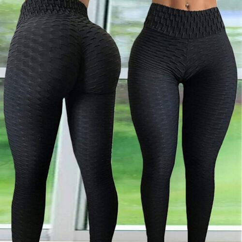 Women/'s High Waist Yoga Pants Hip Push Up Ruched Sports Gym Fitness Leggings NJ9