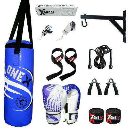 MMA Fitness Training 2FT Filled Punching Bag Duty Heavy Kicking Boxing Gym Set