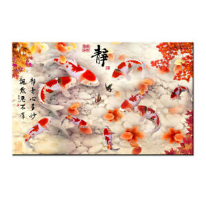 Home art wall decor China/'s wind Feng Shui Fish Koi painting Printed on canvas 3