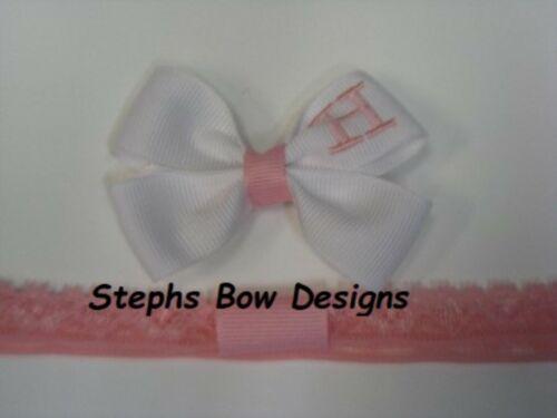 White w// Pink Monogram Dainty Hair Bow Headband Personalized 4 Preemie 2 Toddler