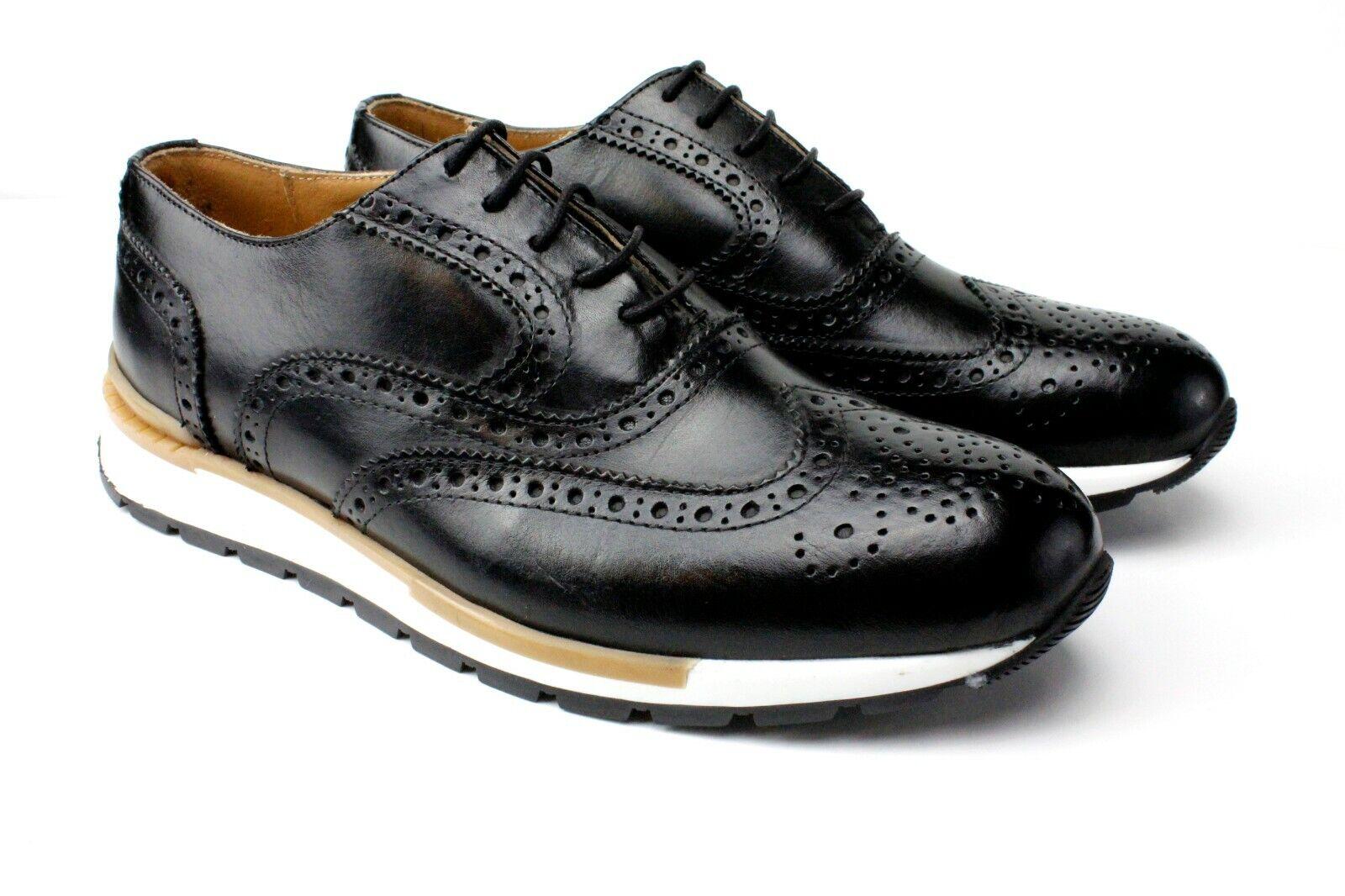 Ivan Troy Jamal en Negro con Cordones Cuero Italiano Zapatos Vestido Oxford