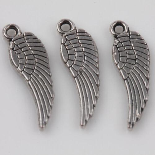 50Pcs Angel Wing Tibetan Silver Charms Pendants Jewelry Findings 17*5mm DIY