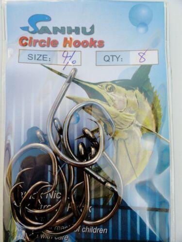 24-80 Circle Hooks 2X Strong 4//0 Black Nickel Finish Fishing Hooks