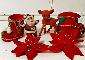 6-VTG-PLASTIC-FLOCKED-REINDEER-SANTA-BOOT-CAR-CHRISTMAS-ORNAMENTS-50-039-s-60-039-s