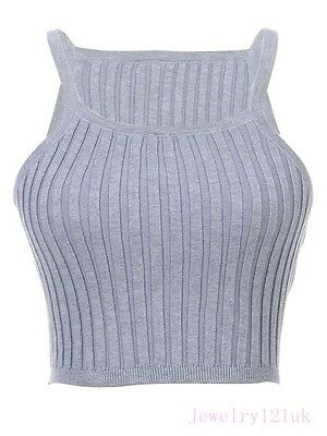 Thick Cable Rib Knit Crop women fashion slim Tank Top cami blouse sport vest YLD