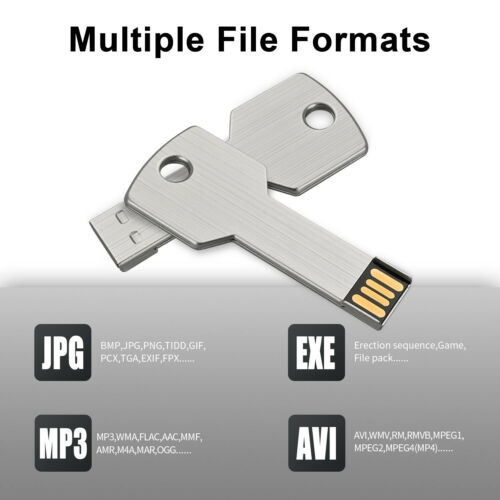 Kootion 1 Pcs Metal Key Model 32G 64G USB 2.0  Flash Drive Memory Storage Sliver
