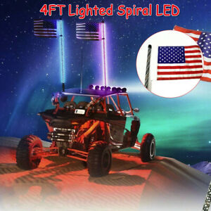 4ft Lighted Spiral Rgb Led Whip Antenna 1 Flag Remote For Atv Polaris Rzr Utv Us Ebay