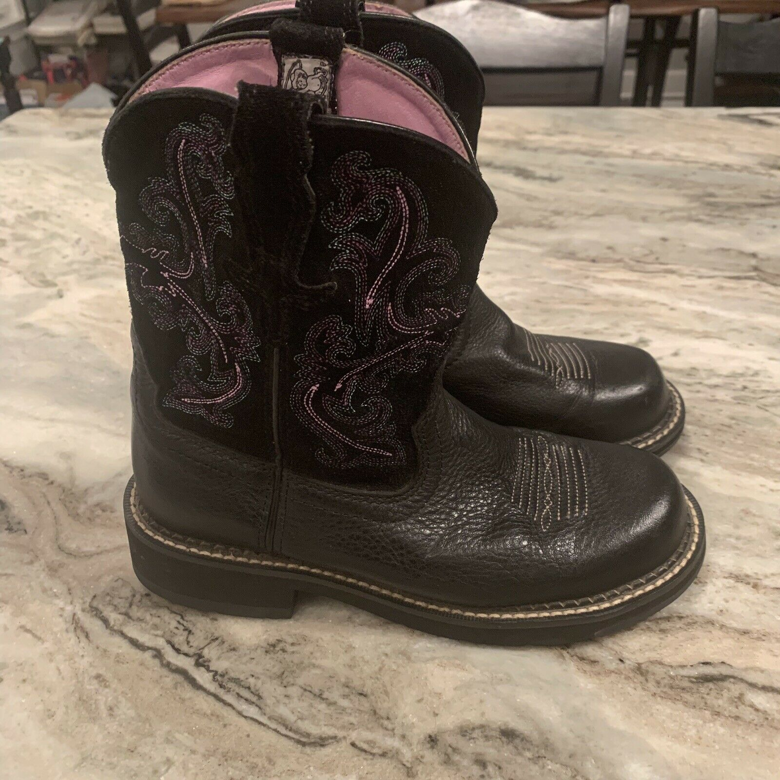 FATBABY II Western Riding Boots black with pink lining Women's size 7 B Pull On