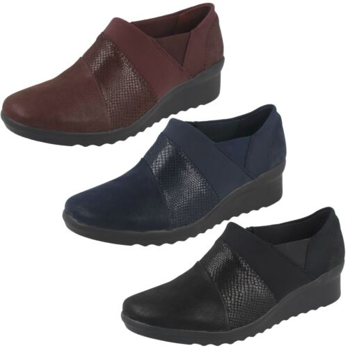 Mujer Zapatos Caddell Denali Clarks Tacón Cuña Tela Cloudsteppers Cremallera De rrYvq